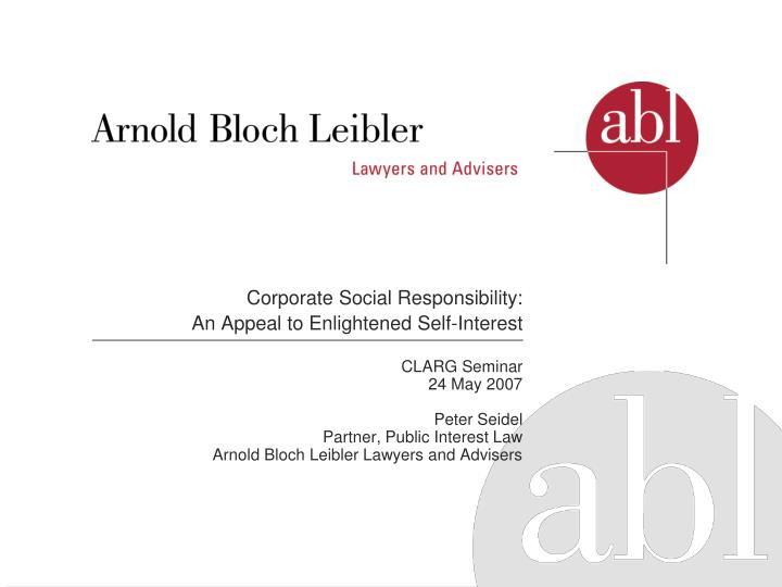 Corporate social responsibility an appeal to enlightened self interest