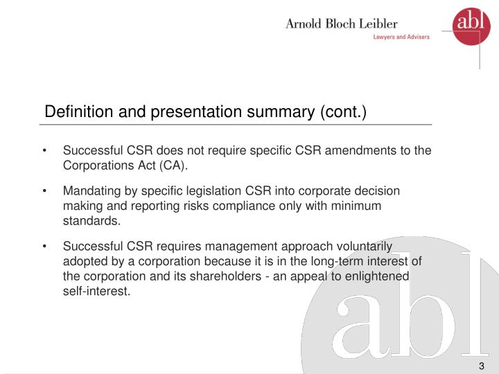 Definition and presentation summary cont