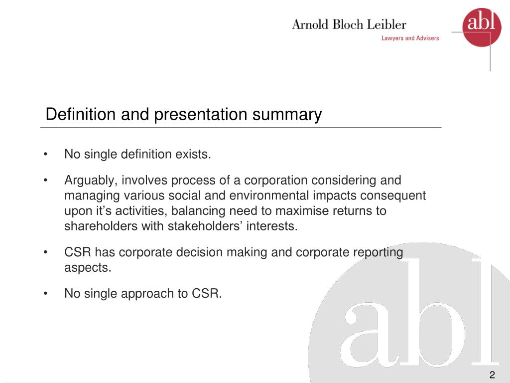 Definition and presentation summary