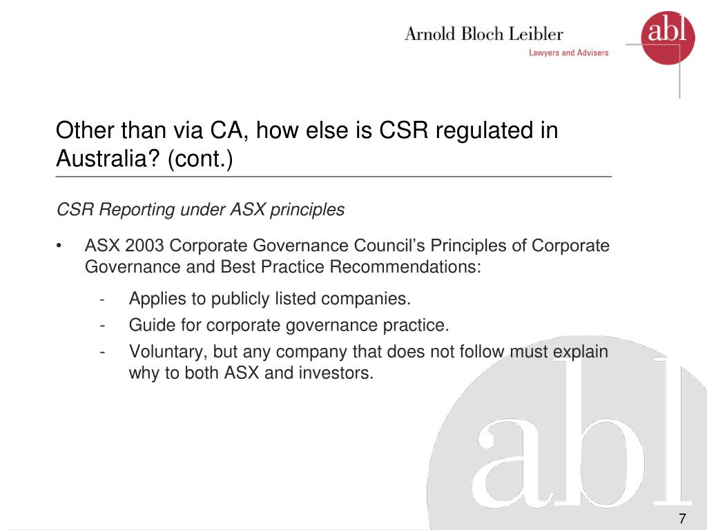 Other than via CA, how else is CSR regulated in Australia? (cont.)