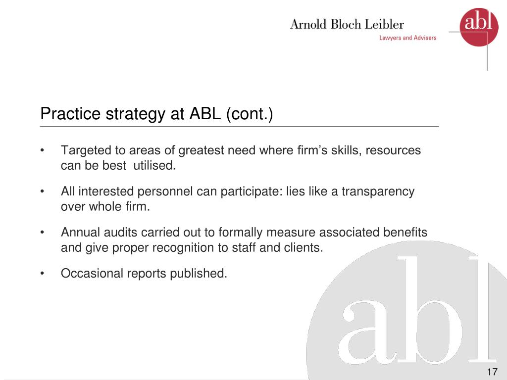 Practice strategy at ABL (cont.)