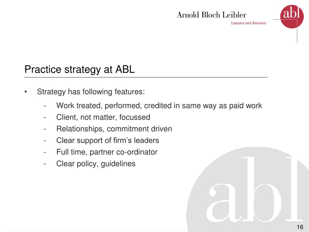 Practice strategy at ABL