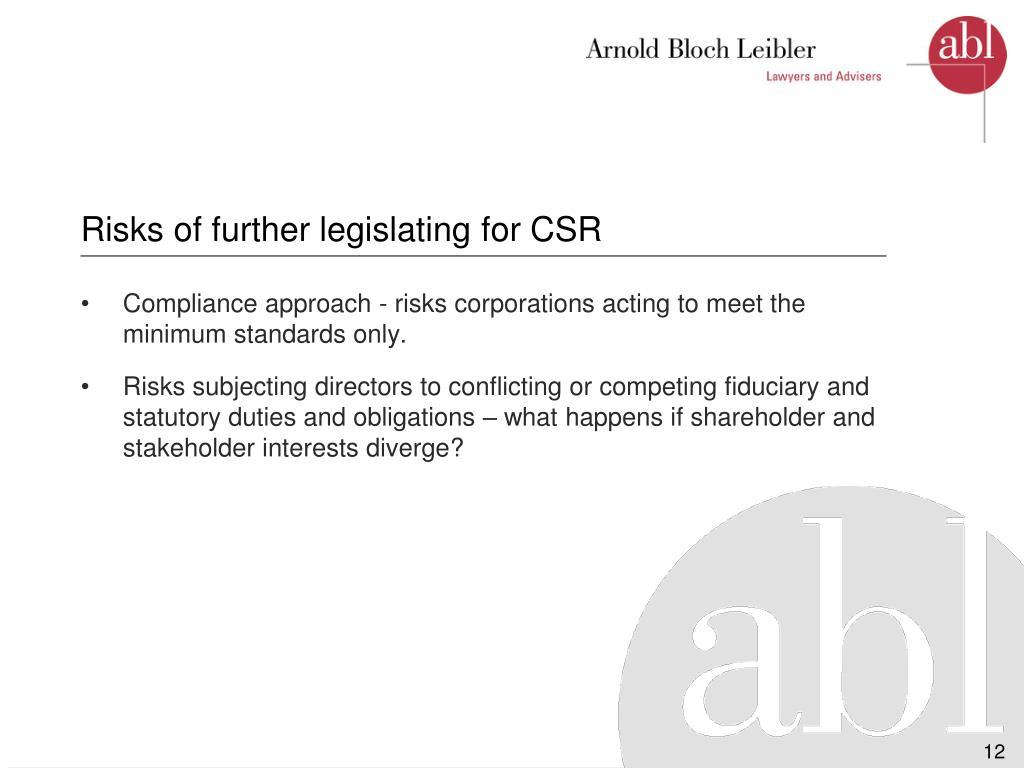Risks of further legislating for CSR