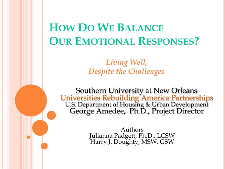 how do we balance our emotional responses n.