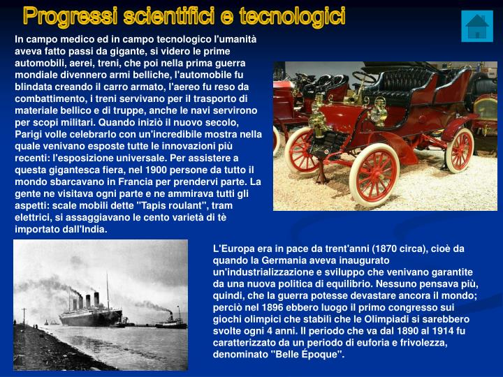 Progressi scientifici e tecnologici