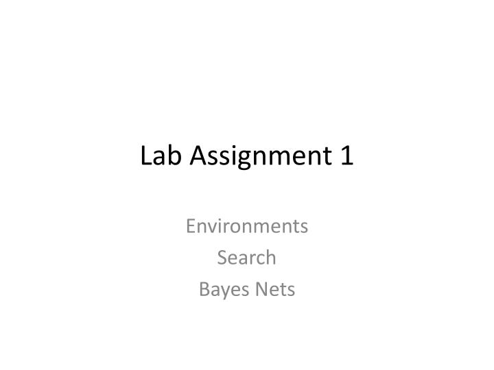 Lab assignment 1