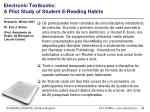 electronic textbooks a pilot study of student e reading habits28