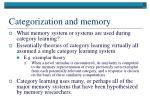 categorization and memory