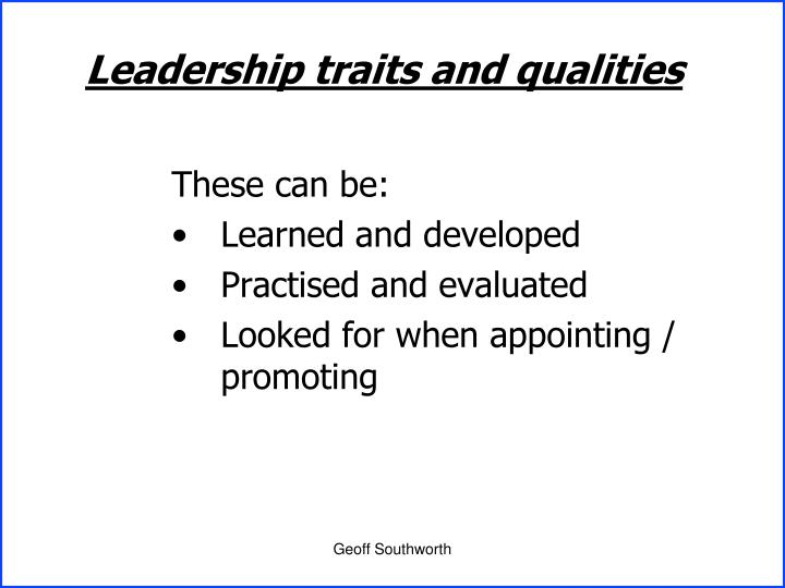 Leadership traits and qualities
