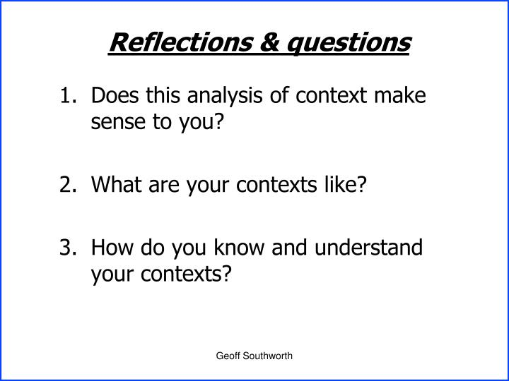 Reflections & questions