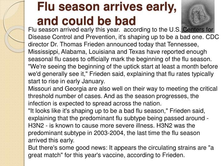 Flu season arrives early,