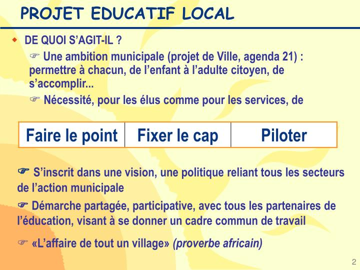 Projet educatif local