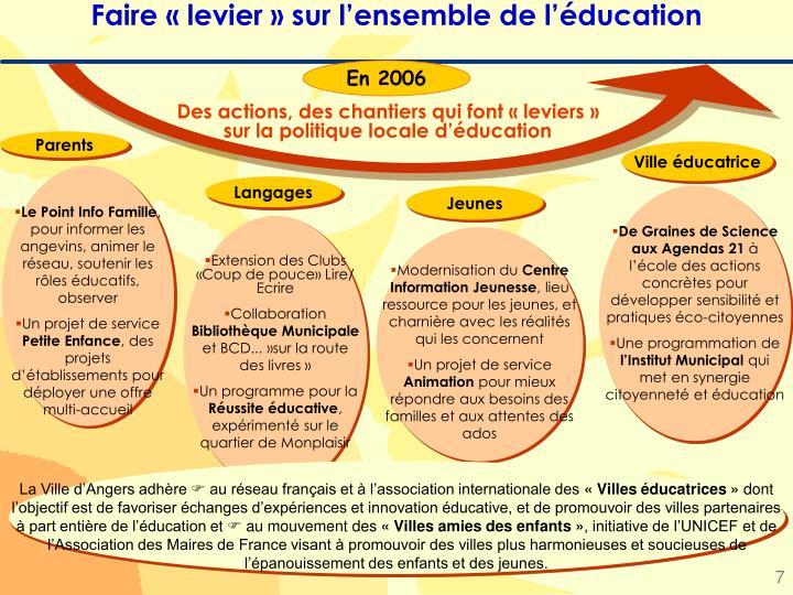Faire « levier » sur l'ensemble de l'éducation