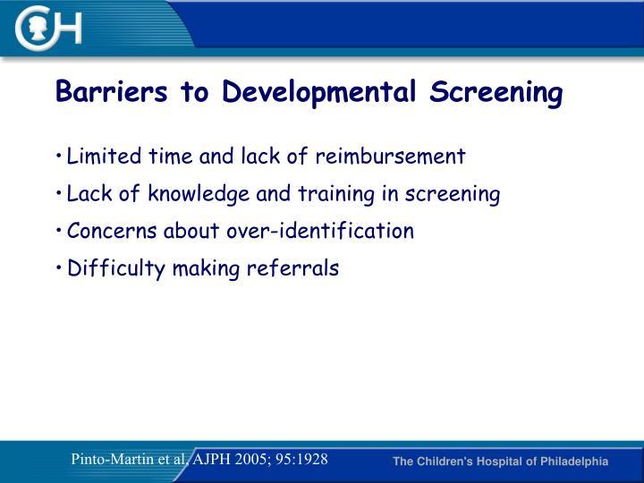 Barriers to Developmental Screening