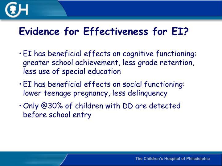 Evidence for Effectiveness for EI?