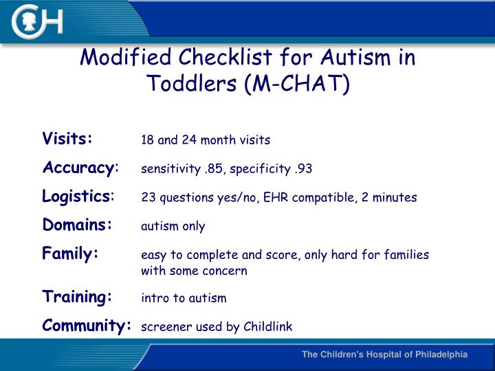 Modified Checklist for Autism in Toddlers (M-CHAT)