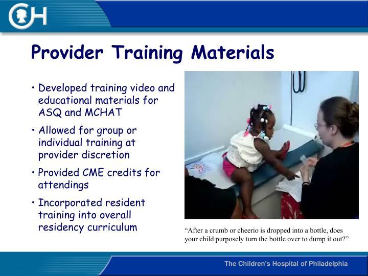 Provider Training Materials