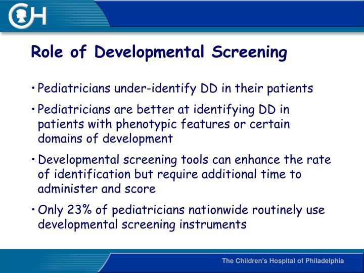 Role of Developmental Screening