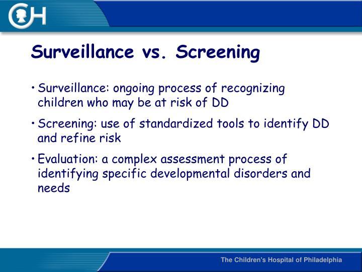 Surveillance vs. Screening