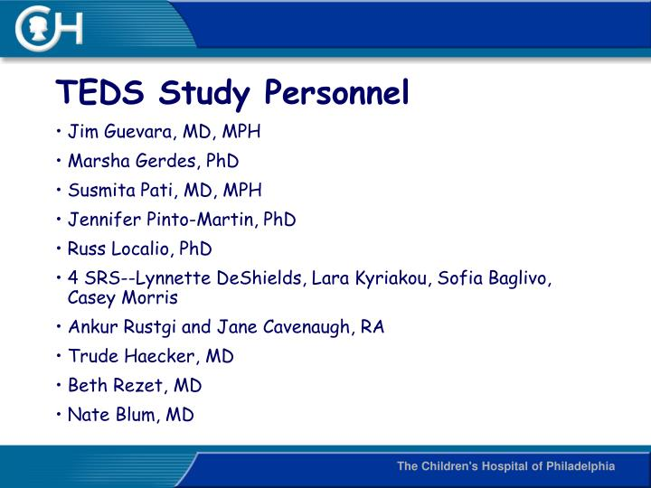 TEDS Study Personnel