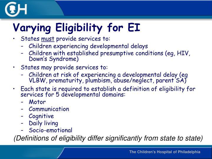 Varying Eligibility for EI