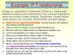 example p t relationship