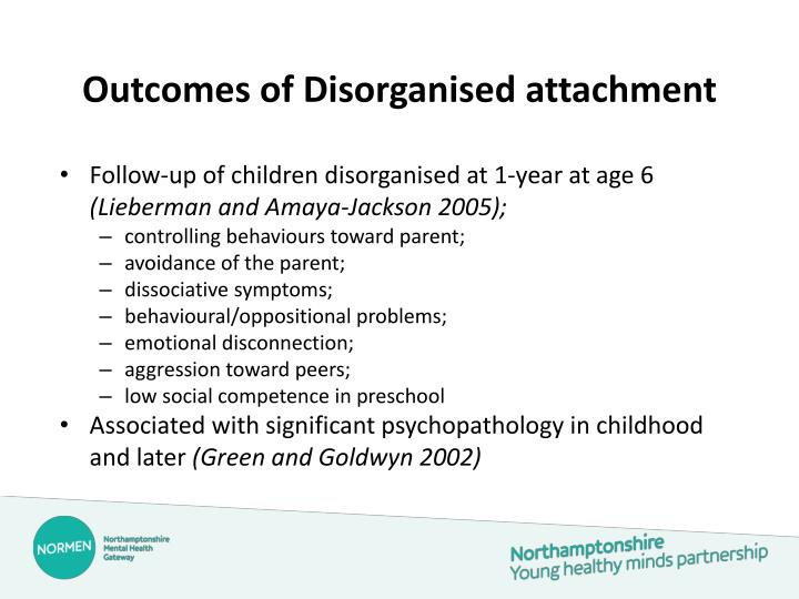 Outcomes of Disorganised attachment
