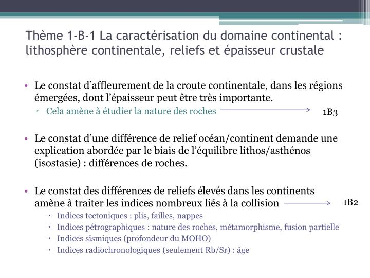 Thème 1-B-1 La caractérisation du domaine continental : lithosphère continentale, reliefs et épaisseur