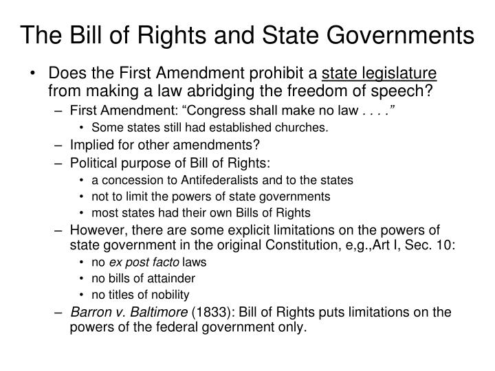 The bill of rights and state governments3