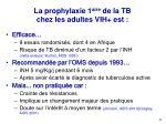la prophylaxie 1 aire de la tb chez les adultes vih est