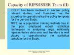 capacity of rips isser team ii