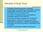 schedule of study team