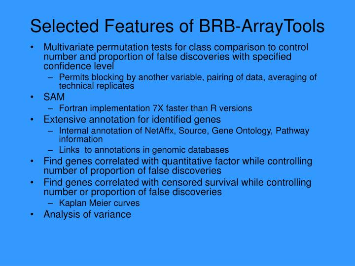 Selected Features of BRB-ArrayTools