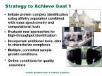 strategy to achieve goal 1