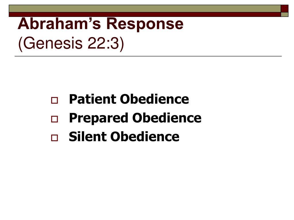 Abraham's Response