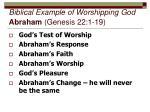 biblical example of worshipping god abraham genesis 22 1 19