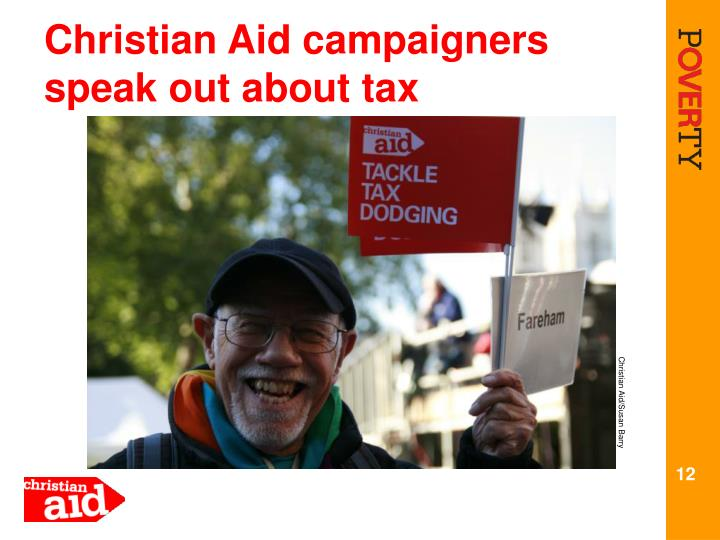 Christian Aid campaigners  speak out about tax
