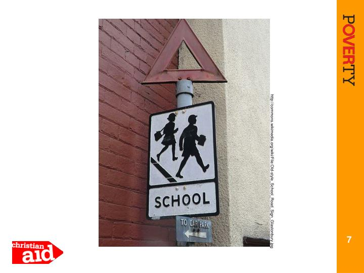 http://commons.wikimedia.org/wiki/File:Old-style_School_Road_Sign_Glastonbury.jpg