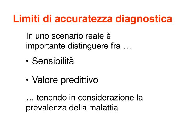 Limiti di accuratezza diagnostica