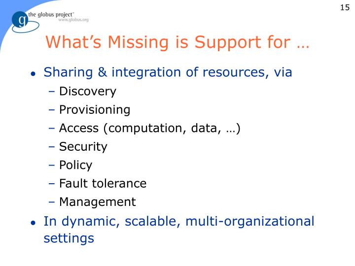 What's Missing is Support for …