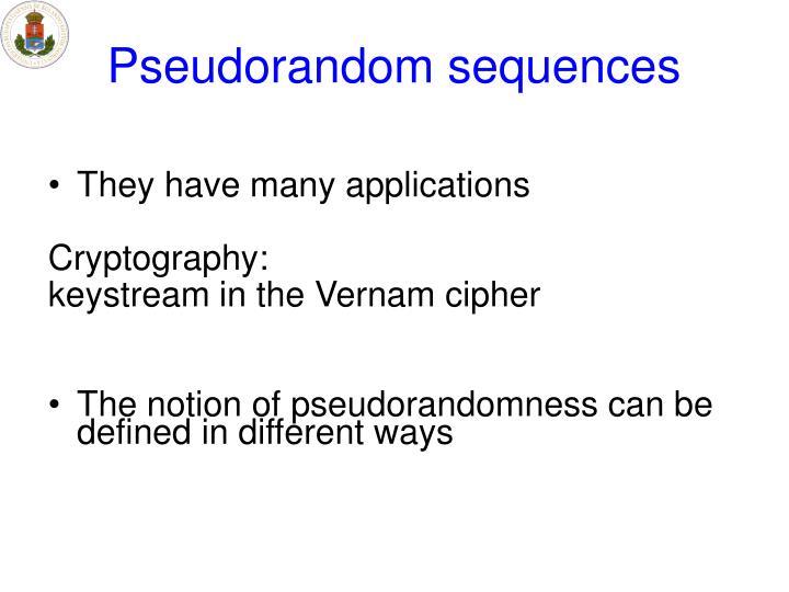 Pseudorandom sequences