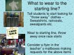 what to wear to the starting line