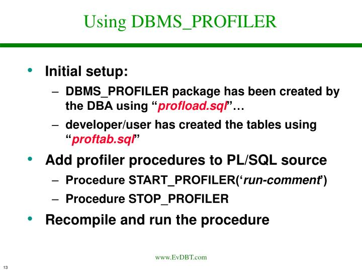 Using DBMS_PROFILER