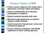primary duties of irb