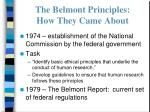 the belmont principles how they came about