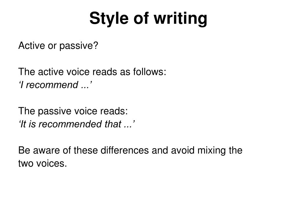 Style of writing