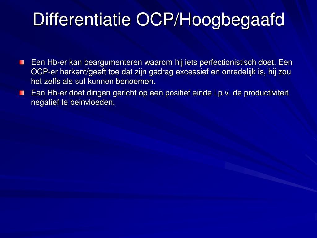 Differentiatie OCP/Hoogbegaafd