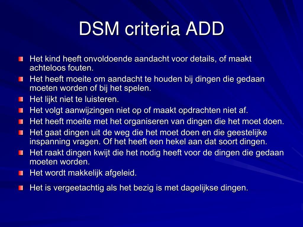 DSM criteria ADD