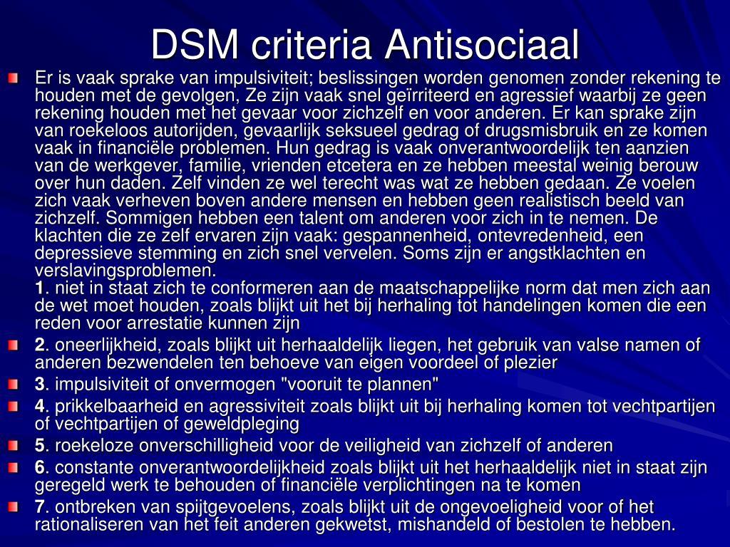 DSM criteria Antisociaal