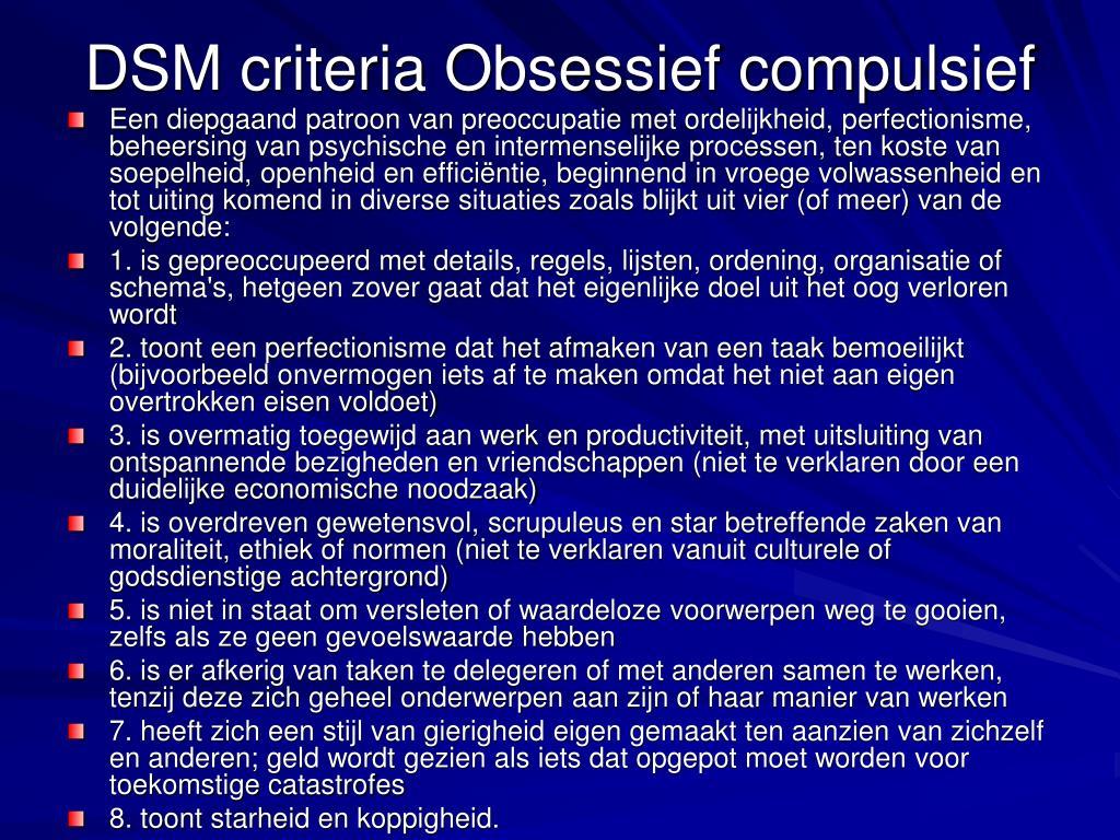 DSM criteria Obsessief compulsief